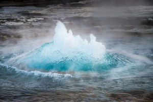 The moment of eruption from the Stokkur geysir in Geysir