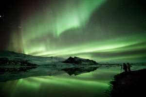 The aurora over Fjallsarlon