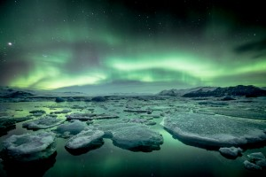 The aurora borealis over Jokulsarlon.